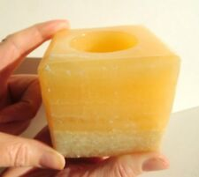 Polished Orange Calcite Crystal 7cm Cube Candle Tealight Holder Cheapest On Ebay