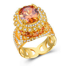 18k Yellow Gold Plated Gorgeous Jewelry Yellow Topaz Wedding Ring Size 6-10