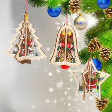 3D Christmas Wood Ornament DIY Xmas Tree Door Hanging Pendant Decoration Gifts