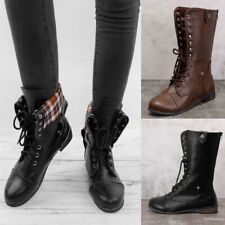 Lady Military Style Zipper Lace Up Mid-Calf Boot Ankle Low Heel Boots Shoes Size