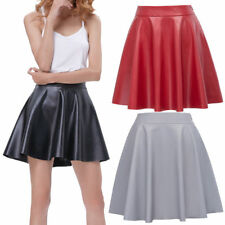 Women Casual Leather Skirt  Flared A-Line Swing Skater Pleated Mini Zip Dress