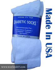 DIABETIC CIRCULATORY CREW WHITE SOCKS HEALTH MEN'S COTTON ALL SIZE (MADE IN USA)