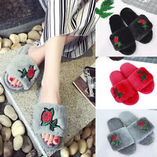 Womens Rose Embroidery Fluffy Fur Sandals Home Slipper Rubber Flip Flops Shoes