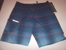 NEW BILLABONG swim board shorts trunks blue ombre plaid  boardshorts 30 32 34 36