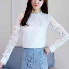 Women's Long Sleeve T-shirt Ladies Flower Lace Mesh Pullover Jumper Skirts Tops