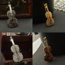 Fashion Crystal Creative Violin Instrument Shape Brooch Pin Wedding Party Decor