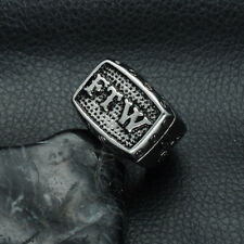 Hip-hop Punk Rock Men's Ring FTW 316L Stainless Steel Finger Ring Band Jewelry