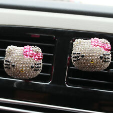 2PCS Kawaii Hellokitty Rhinestones Kennard Air Conditioning Vent Perfume Clip