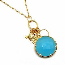 Chalcedony Gemstone 925 sterling Silver with Gold Plated Necklace A1N-1977