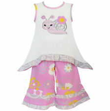 AnnLoren Girls Sweet Snail Pink & Cream Tunic and Capri Set sz 12/18 mo-9/10