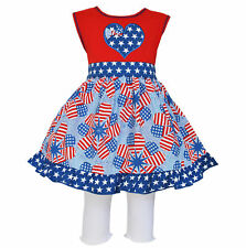 AnnLoren Girls 4th of July Heart Flag Dress & Capri Spring Set 12/18 mo - 9/10