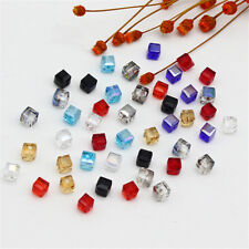 DIY 10Pcs Square Crystal Faceted Loose Glass Cube Spacer Beads 4mm/6mm