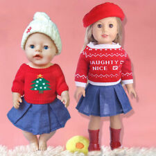 1Set Sweater + Skirt + Hat Doll Clothes Fit Baby Born Zapf or American Girl Doll