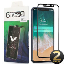 2x Full 3D Tempered Glass Screen Protector For iPhone X - Premium High Quality