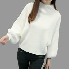 Turtle Neck Sweater Bat Wing Long Sleeve Loose Knitted Jumper Tops Pullover Wear