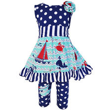 AnnLoren Girls Nautical Dress with Polka Dot Capri Set sz 12/18 mo-11/12yrs