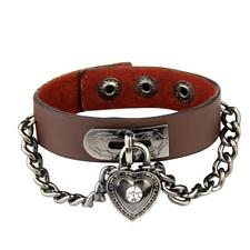 Multicolor Leather Cuff Heart Lock Bracelet Gothic Bangle Rock Vintage Wristband