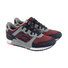 Asics Gel-Lyte III Mens Red Gray Mesh Athletic Lace Up Running Shoes