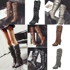 Women PU Fold Slouch Mid-Calf Boots High Chunky Heel Block Slim Boots Shoes Size
