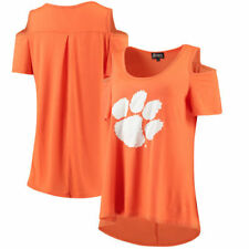Clemson Tigers Gameday Couture Womens Gdr Cold Shoulder Flowy  T-Shirt - Orange