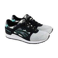 Asics Gel Lyte III Mens White Black Suede Athletic Lace Up Training Shoes