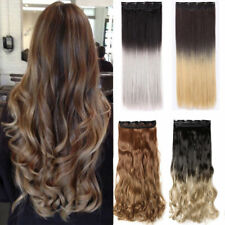 100% Natura Clip In Hair Extensions Ombre Long Straight Curly Hair Extension FF7