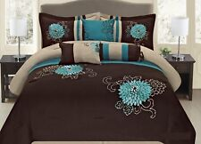 7 Pc Brown, Teal and Taupe Floral Striped Design Comforter set, by Legacy Decor