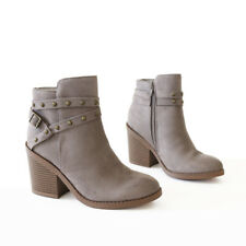 Domed studs punctuate Ankle Strap Western Influence Suede Ankle Boots Booties