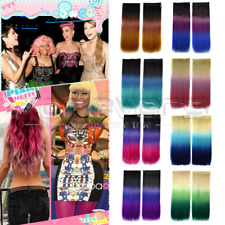 """24"""" 3 Colour Ombre Gradient Straight Clip In Cosplay Party Hair Piece Extensions"""