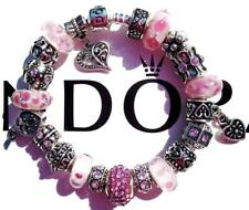 Authentic PANDORA Silver Charm Bracelet with Charms PERFECTLY PINK EE85