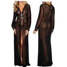 Sexy Women Sheer Long Sleeve Lace Robe Gown Dress Club Fancy Costume+ G-STRING