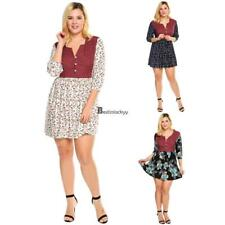 Women Plus Size Boho Style 3/4 Sleeve Floral Print Patchwork Tunic Dress BSTY 01