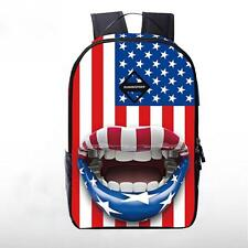 Fashion 3D USA Mouth Flag Printed Backpack Canvas School Bag Travel / Unisex