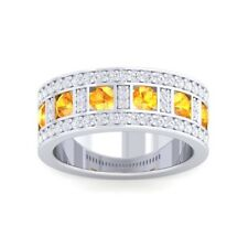 Orange Citrine IJ SI Diamonds Ewedding Band With Gemstones 14K Solid Gold