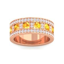Orange Citrine IJ SI Diamonds Ewedding Band With Gemstones 10K Solid Gold