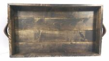 "Rustic Handmade 20"" x 12"" Wood Ottoman Coffee Table Serving Tray - Choose Color!"