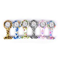 1xLovely Patterned Silicone Nurses Brooch Tunic Fob Pocket Watch Stainless DialF