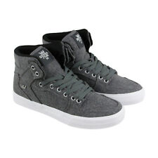 Supra Vaider Mens Gray Suede High Top Lace Up Sneakers Shoes