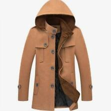 Mens Hooded Coat Wool Blend Slim Fit Trench Single-Breasted Mid Long Parkas size