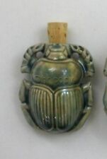 Raku Ceramic Pottery Bottle-Necklace, Scarab Design, Choice of Lot Size & Price