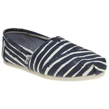 New Womens Toms Blue Multi Classic Canvas Shoes Slip On