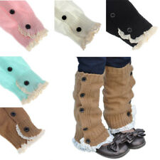 Kids Girl Winter Socks Crochet Knitted Lace Boot Cuffs Toppers Leg Warmer Socks