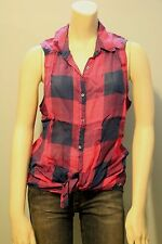 Hollister by Abercrombie Women Bold Plaid Sleeveless Button Down Shirt NwT S M L