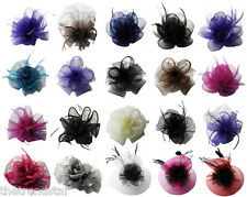 New Women Wedding Evening Prom Party Ladies Mesh Flower Feather Comb Fascinator