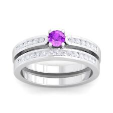 Purple Amethyst IJ SI Solitaire Gem side stone  Engagement Ring 14K Solid Gold