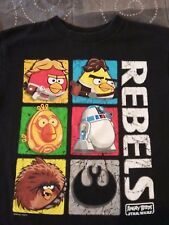 Star Wars Angry Birds Rebels Black Tee T-Shirt Boys Size 7 GUC