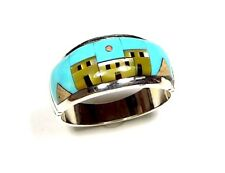 Turquoise Multicolor Pueblo Inlay 925 Sterling Silver Men's, Woman Ring 10 or 11