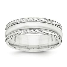 925 Sterling Silver Polished Fancy Rope 6mm Wedding Ring Band Band Size 7 - 13