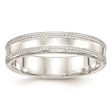 925 Sterling Silver Polished Edged Design 5mm Wedding Ring Band Size 4 - 12