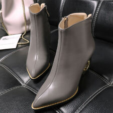 2017 Novelty  Heel Full Grain Leather Ladies' Leather Ankle Boot Women's Bootie